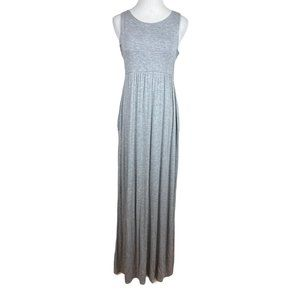 Honey & Lace Maxi Dress Gray Sleeveless Pockets  M
